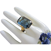 Large Montana Blue Rhinestone Cocktail Ring, Size 11 ~ REDUCED!!