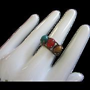 Vintage Burt Cassell 12K GF Genuine Stone Scarab Ring