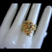 Leafy Design with Tigers Eye and Peridot Rhinestone Ring