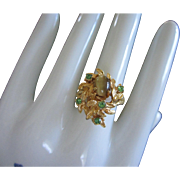 Leafy Design with Tigers Eye and Peridot Rhinestone Ring
