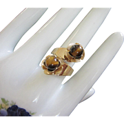 Tigers Eye Floral Crossover Style Ring