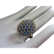 Vintage Cocktail Ring, Capri Blue Rhinestones, Adjustable