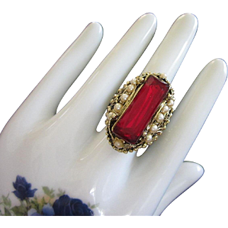 Ornate Vintage Faux Ruby and Pearl Cocktail Ring, Adjustable Band