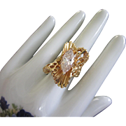 Vintage Clear Rhinestone Cocktail Ring with Wavy Ruffled Design, Size 9