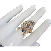 Festive Vintage Light and Dark Sapphire Rhinestone Ring, Adjustable