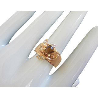 Tigers Eye and Rhinestone Gold Plated Floral Motif Ring, Size 8