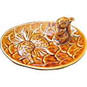 Vintage Squirrel and Pine Cone Nut Dish, Victoria Ceramics, Japan