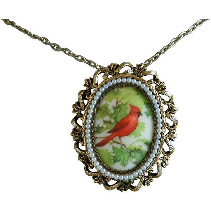 charming cardinal necklace brooch mid century sold on