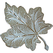 Marked 800 Silver Maple Leaf Filigree Brooch