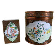 Chinese Copper Finish and Hand Painted Enameled Round Cigarette or Tobacco Jar with Match Box, China