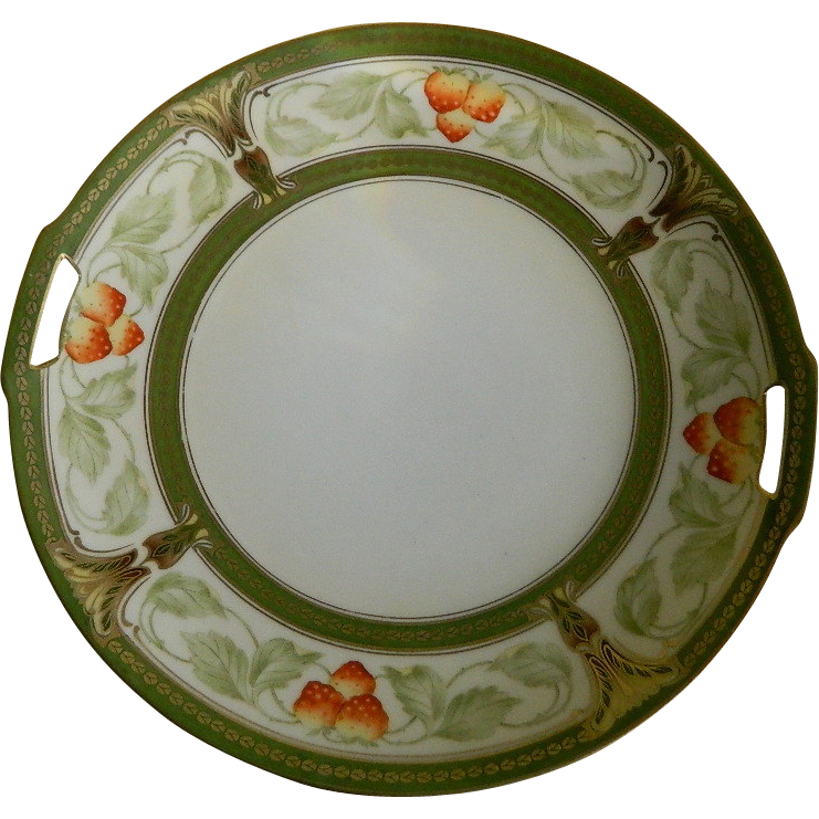 R S Germany Strawberry Cake Plate with Handles 1920 - 1930 ...