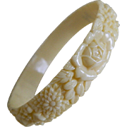 Vintage Ivory Colored Celluloid Bangle Bracelet