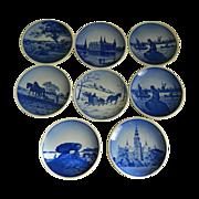 Set of 8 Aluminia / Royal Copenhagen Miniature Plate Wall Plaques 1953 - 1967, Denmark
