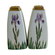 Beautiful Purple Iris Salt and Pepper Shakers Early 1900's Germany