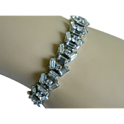 Lovely Silver Tone Link Bracelet with Clear Rhinestones