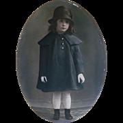 1917 Large Metal Framed Photograph of Little Girl, Marie Elisabeth