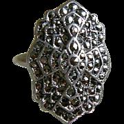 Art Deco, Uncas, Sterling Marcasite Ring, Size 4