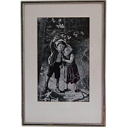 Framed French Woven Silk Picture, Neyret Freres, Lost in the Woods