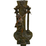 Art Nouveau Large Spelter Vase, France, Artist Signed