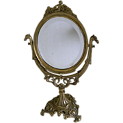Victorian Brass Vanity Swivel Mirror With Beveled Glass