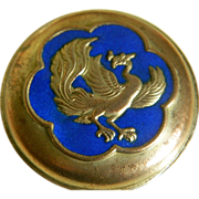 Beautiful Metal Enameled Round Box with Phoenix