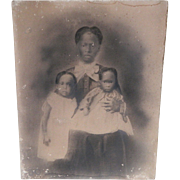 Civil War Era Charcoal Portrait of An African American Woman with Her Daughters, 1850-1860's