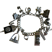 Vintage Sterling Silver Double Linked Charm Bracelet with 13 Charms