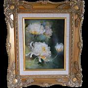 Framed Floral Porcelain Plaque, Artist Signed, Glorianna Michels, 1980's