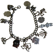 Vintage Sterling Silver Charm Bracelet with 13 Charms