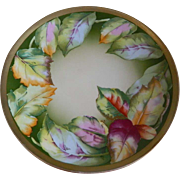Antique Oscar and Edgar Gutherz Royal Austria Cabinet Plate, Autumn Leaves, Artist Signed