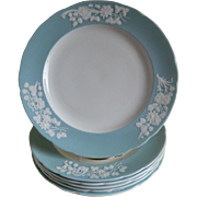 Vintage Spode, England Bone China Plates, Blue Rim with Raised White Flowers, Set of 6