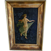 Framed Oil Painting of Nude Woman with Veil - Red Tag Sale Item