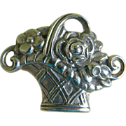 Antique Tiffany and Co. Sterling Silver Flower Basket Brooch