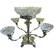 1820 Old Sheffield Silver Plate Epergne with  Lead Crystal Cut Glass Bowls