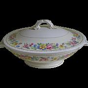 Vintage Egg Shell Georgian Homer Laughlin, Rose Lane Covered Bowl
