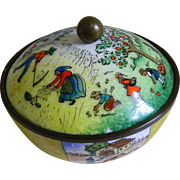 Vintage Austria Enamel Jar with Rural Scenes