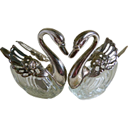 Pair of Swan Salt Cellars with Spoons, EP Zinc Hong Kong