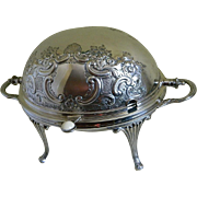 Victorian Electroplated Silver Barker Bros Birmingham, England Roll Back Lid Serving Dish and Warmer