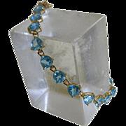 Vintage 14kt Yellow Gold Blue Topaz Bracelet