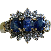 Vintage 10k Yellow Gold Ring with Three Sapphires Surrounded by Little Diamonds