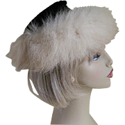 Vintage Black Velvet Hat with Fur Trim New York 1960's