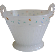 1920's Clam Broth Glass Basket Vase