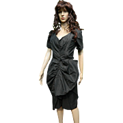 Ceil Chapman New York Designer Black Cocktail Dress, 1950's - 1960's