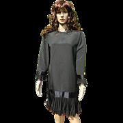Vintage Richilene New York Designer Black Dress, 1980's