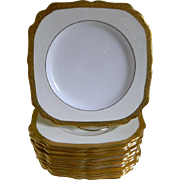 Vintage Minton England Square Gold Encrusted Plates, Set of 12, Made for The Alex Anderson Store in Minneapolis, Minnesota, 1930's