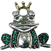 Vintage Sterling Silver Prince Frog Pendant with Diamond Eyes and Created Emeralds