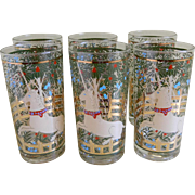 Vintage Cera Glass 10 oz. Bar Tumblers with 22 K Gold, Set of Six