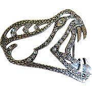 Vintage Italian Snake Head Belt Buckle