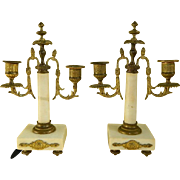 Antique French Victorian Pair of Bronze and Marble Candle Holders