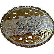 Vintage Crumrine Heavy Silver Plate Oval Flowered Belt Buckle